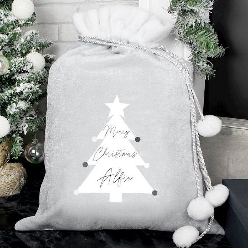 Christmas Tree Luxury Silver Grey Pom Pom Sack